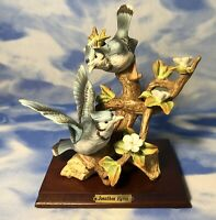HTF Vintage Royal Carlton Arnart J Byron Porcelain Blue Jay Birds Figurine As Is