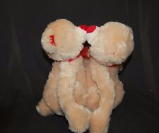 "Kissing Love Bears Magnet Lips Hugs I Luv You 10"" Plush Stuffed Animal Lovey Toy"