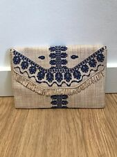 Gorgeous NEW Stella & Dot Straw And Blue Embroidered Clutch Bag