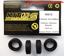 M073 Mitoos Classic Ribbed Tyres x 4 - 20 x 6mm - New