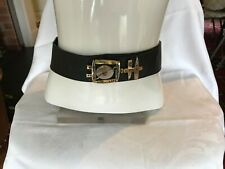 "steampunk black leather belt length 36"" inches"