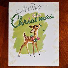 Vintage UNUSED Christmas Card MARJORIE COOPER / FLOCKED SPOTTED DEER /RUST CRAFT