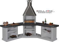 Wellfire Grill-Außenküche ARDEA Granit-Weiß Edelstahlhaube 192 x 188 x 73 cm 90°