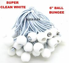 "(50) 6"" White Ball BUNGEE Cord Tarp Bungee Tie Down Strap Bungi Canopy Straps"