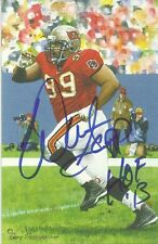WARREN SAPP IP AUTO SIGNED GOAL LINE ART CARD GLAC - HOF 13  - BUCCANEERS  !!