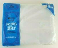 Muslin Sheet Twin Fitted All White No Iron  Vintage 39 x 76 Original Packaging