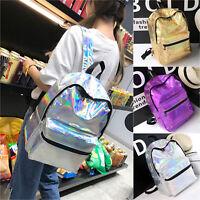 Women Girl Hologram School Backpack Travel Shoulder Bag Rucksack Satchel Handbag