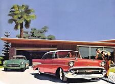 "5x7"" photo REPRINT GM CHEVROLET ADVERTISING RED 1957 & CORVETTE ART CARD GLOSSY"