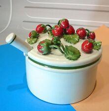 Superbe pot confiture de fraises, porcelaine Italie…