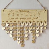 Rustic Happy Birthday Reminder Calendar Wooden Board Plaque Hanging Decor