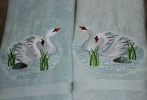SWAN SWANS SET OF 2 HAND TOWELS EMBROIDERED Beautiful