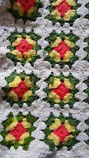 "Crocheted Granny Square Afghan Off White Border Yellow Green Orange 42 x 52"""