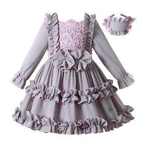 Pettigirl Girl Vintage Dress Autumn Lace Christmas Clothes 3 4t Size 5 6 8 10 12