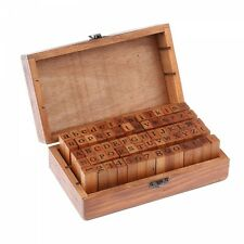 70Pcs Wooden Rubber Alphabet Letter Number Stamps Stamper Seal Set for Kids Gift