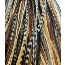 7-11 inch Dark Brown,Black,Beige Mix 100% Real Hair 5 Feather Extensions bonded