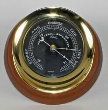 "Chelsea Newport 5.5""  Nautical Clock Barometer seateak wood base wall hang teak"