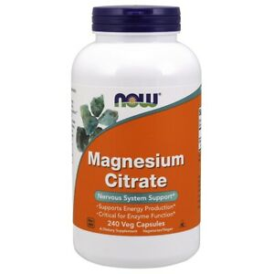 Now Foods Magnesium Citrate Caps 240 Vegicaps Made in USA FREE SHIPPING