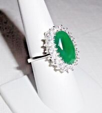 31 Ct.t.w. NATURAL RAW CUT EMERALD & WHITE TOPAZ 925 SILVER RING ~ SIZE 8