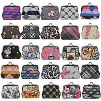 Womens Girls ladies Fashion Twin Clip Kiss Lock small patterned coin purse