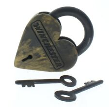Winchester Heart Lock And Key Set Solild Brass Antiqued Patina