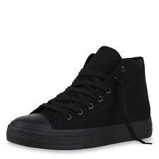 Damen Sneaker High Basic Stoffschuhe Turnschuhe Freizeit Schuhe 820807 Top