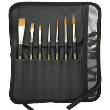Synthetic Sable Watercolor-Acrylic Media 7pc Brush Gift Set with Travel Wrap