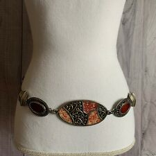 Chico's Stylish Metal Belt, Adjustable, Silver, Orange
