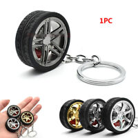Creative Round Rubber Decoration Tire Metal Wheel Keyring Car Keychain