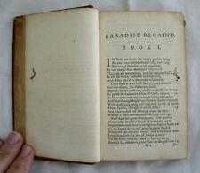 John Milton Paradise Regain'd Old Antique Book Regained Leather Poetry 1700s