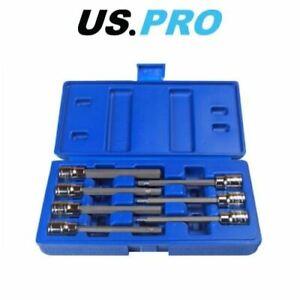 """US PRO Extra Long Hex Bit Socket Set 3/8"""" Dr Allen Keys H3 4 5 6 7 8 10mm 1399"""