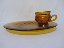 VINTAGE TIFFIN GLASSWARE AMBER KINGS CROWN CUP & PLATE LUNCH TRAY PLATE