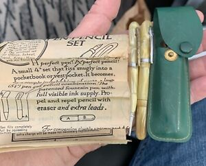 vintage US Victor convertible fountian pen & pencil set w/case & papers