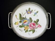 Vtg White Toleware Handpainted Roses Metal Serving Tray Open Work Edge Fine Arts