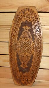 Vintage floral hand made pyrography wood wall hanging plaque