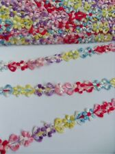 """5/8"""" Multi-Color Embroidered Flowers Lace Trims Appliques-2 Yards (T092)"""