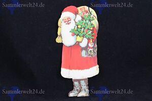 1 Stück org. alte DDR Papier Weihnachtsmann Obladen wurde auf Lebkuchen geklebt