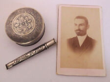 1912 SILVER Tobacco Box, Cigarette Holder Pipe, Photo- ARMENIAN insc. Turkey VAN