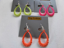 SMALL RETRO TWISTED TEARDROP HOOP EARRING Hot Pink Neon Green Orange 3X1.5cm new