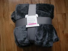 NEXT CHARCOAL GREY SUPER SOFT FLEECE  BLANKET SOFA BED THROW  130X150CM