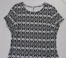 Old Navy Black White Geometric Print Knit Sheath Dress Short Sleeves Size XL