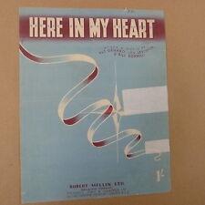 Canción Hoja aquí en mi corazón Pat Genaro, Lou Levinson, Bill Borrelli 1952