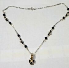 "Vintage 18"" Black Enamel, Clear Rhinestones & Silver Tone Celtic Cross Necklace"