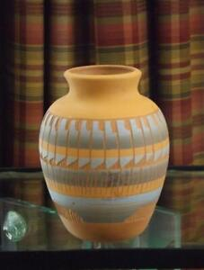 """Navajo Native American Clay Vase Signed TW 6.5"""" Tall EXC"""