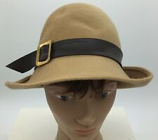 Vintage Womens Cloche Style Tan Zephyr Felt with Leather Band Buckle Hat