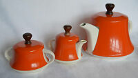 Mid Century JAPAN Tea Set POT CREAM SUGAR Orange Insulated ALUMINUM Wood COVER