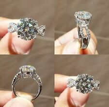 Engagement Ring 925 Sterling Silver 3Ct White Round Moissanite Antique