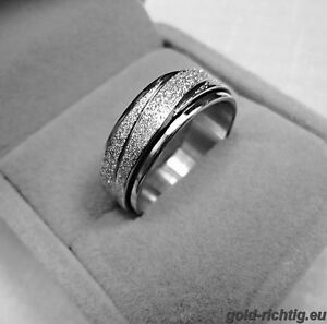 Edelstahl Damen Spinnerring Damenring Spinner Glitzer Ring Silber Drehring NEU!!