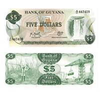 Pick 22f Guyana 5 Dollars 1992  Unc. / .718543vvv..