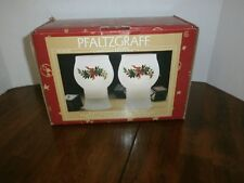 Pfaltzgraff Winterberry Frosted Decal Mini Floating Pillar Candle Holders 2 Nib