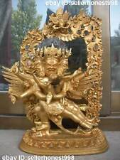 "12"" Tibet Bronze gilt Buddhism Temple Phurba King Vajrakila Buddha Statue"